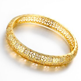 Wholesale Romantic 24K Gold Round CZ Bangle&Cuff TGGPBL023