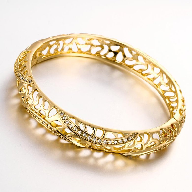 Wholesale Romantic 24K Gold Round CZ Bangle&Cuff TGGPBL042