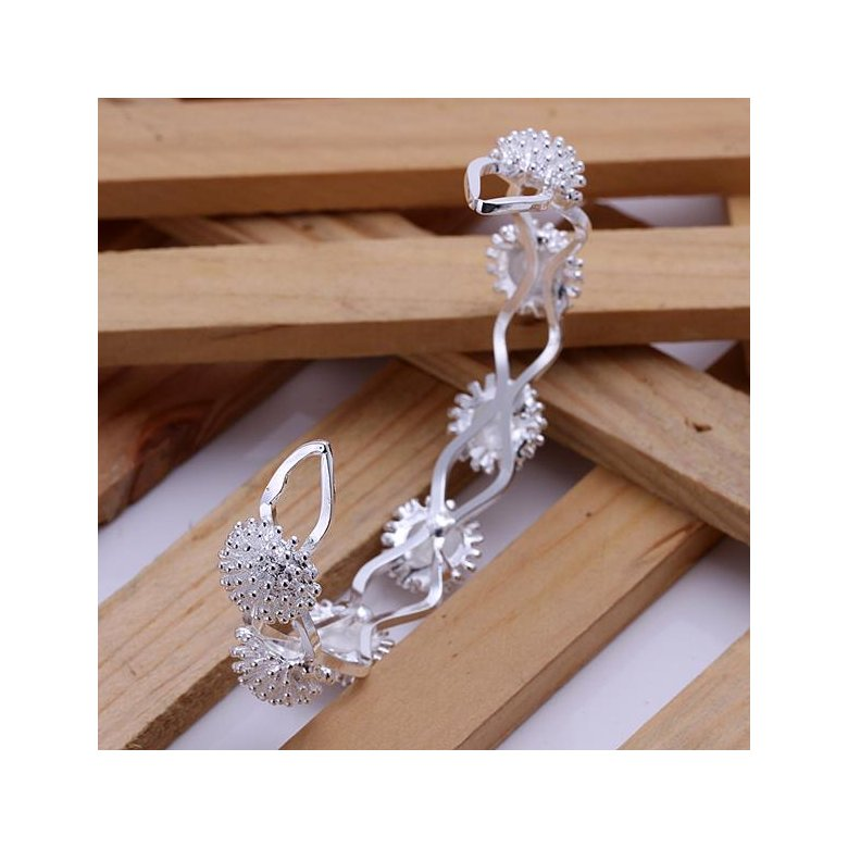 Wholesale Trendy Silver Plant Bangle&Cuff TGSPBL094