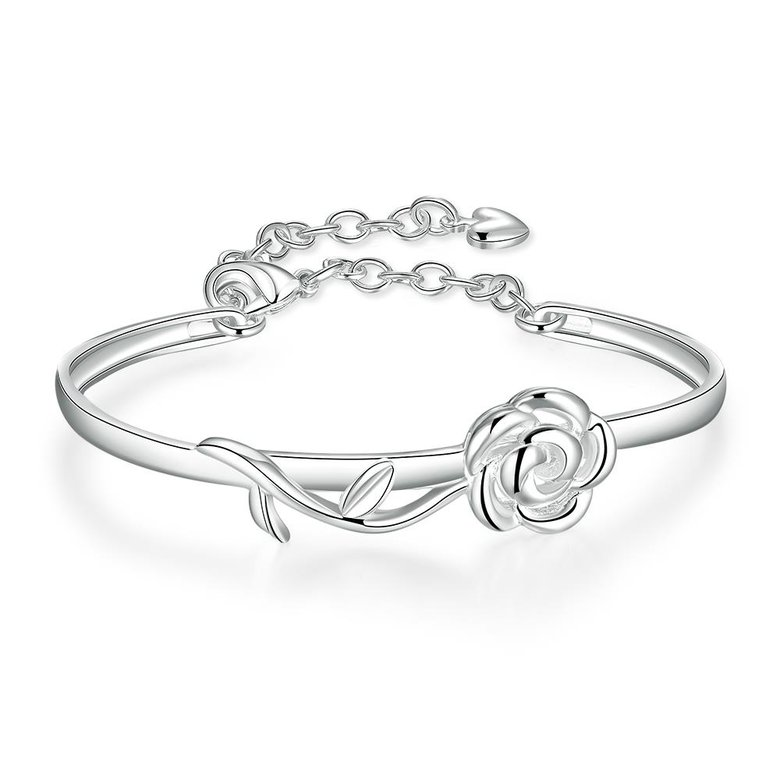 Wholesale Trendy Silver Plant Bangle&Cuff TGSPBL165