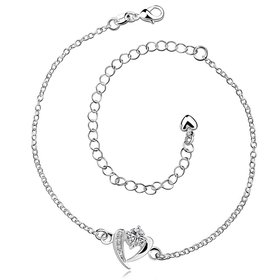 Wholesale Romantic Silver Heart CZ Anklets TGAKL029