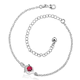 Romantic Silver Round CZ Anklets