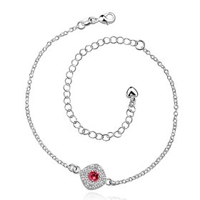 Trendy Silver Round CZ Anklets