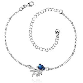 Wholesale Trendy Silver Animal Stone Anklets TGAKL078