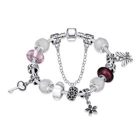 Romantic Silver Key Glass Bracelet