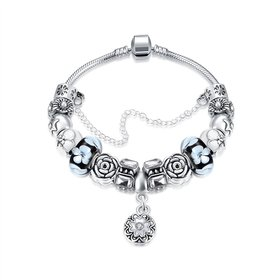 Casual/Sporty Silver Plant Multicolor Crystal Bracelet