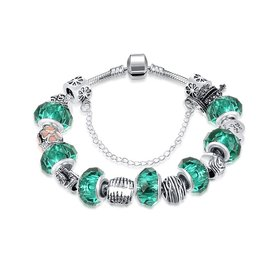 Wholesale Casual/Sporty Silver Geometric Green Crystal Bracelet TGBB004