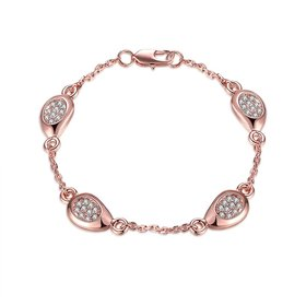 Romantic Rose Gold Star Rhinestone Bracelet