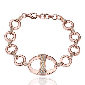Wholesale Trendy Rose Gold Round Rhinestone Bracelet TGGPB056