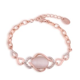 Wholesale Romantic Rose Gold Round Semi-precious Stone Bracelet TGGPB058