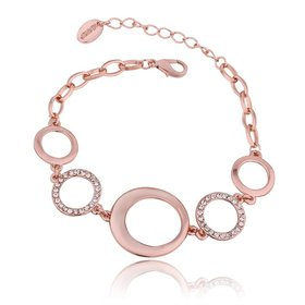 Wholesale Trendy Rose Gold Round Rhinestone Bracelet TGGPB061