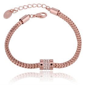 Wholesale Trendy Rose Gold Geometric Rhinestone Bracelet TGGPB070