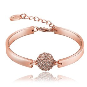 Wholesale Trendy Rose Gold Round Rhinestone Bracelet TGGPB073