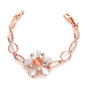 Wholesale Romantic Rose Gold Plant Rhinestone Bracelet TGGPB117