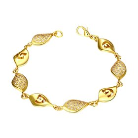 Wholesale Classic 24K Gold Water Drop CZ Bracelet TGGPB023