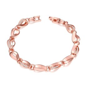Wholesale Romantic Rose Gold Heart CZ Bracelet TGGPB134