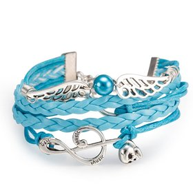 Wholesale Trendy Silver Geometric Charm Leather Rope Bracelet TGLEB110
