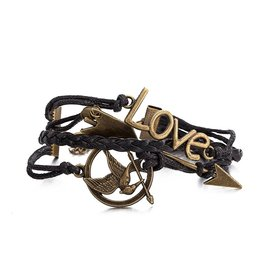 Wholesale Trendy Antique Bronze Round Charm Leather Rope Bracelet TGLEB114