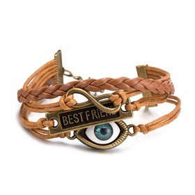 Wholesale Trendy Antique Bronze Geometric Infinity Charm Leather Rope Bracelet TGLEB159