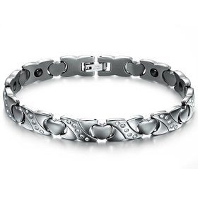 Wholesale Stainless steel radiation protection health magnetic heart shape Bracelet TGSMB048