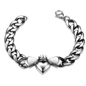 Wholesale Classic 316L stainless steel Heart Bracelet TGSMB024