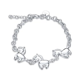 Wholesale Classic Animal Galloping Horse Silver Bracelet TGSPB204
