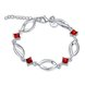 Wholesale Classic Silver Geometric Mouth Red CZ Bracelet TGSPB225