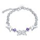 Wholesale Classic Silver Insect Butterfly Purple CZ Bracelet TGSPB235