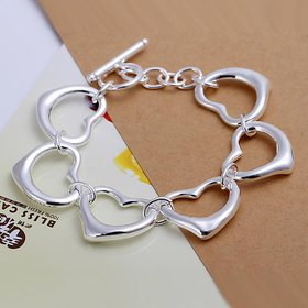 Wholesale Romantic Silver Heart Bracelet TGSPB062