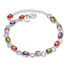 Wholesale Classic Colorful Stones clasp chain Silver Bracelet TGSPB013