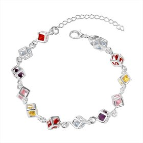 Wholesale Romantic Colorful Stones Silver Bracelet TGSPB014
