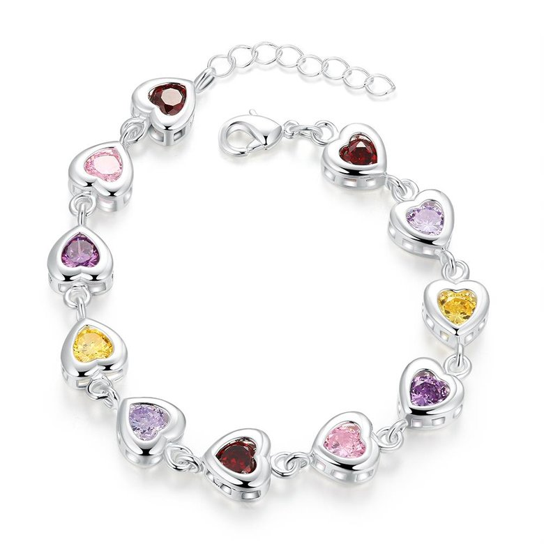 Wholesale Romantic colorful hearts Silver CZ Bracelet TGSPB016