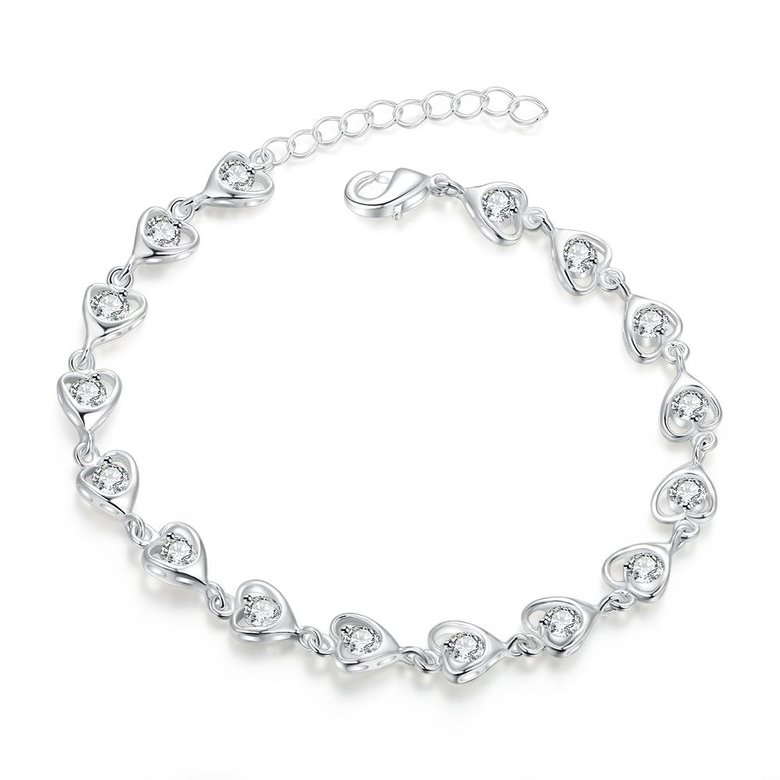 Wholesale Romantic Silver Heart CZ Bracelet TGSPB323