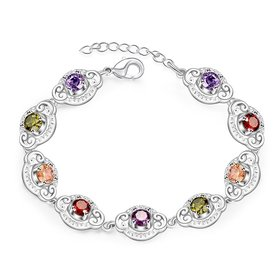 Wholesale Hot sell fashion glittery CZ Silver Bracelet TGSPB001
