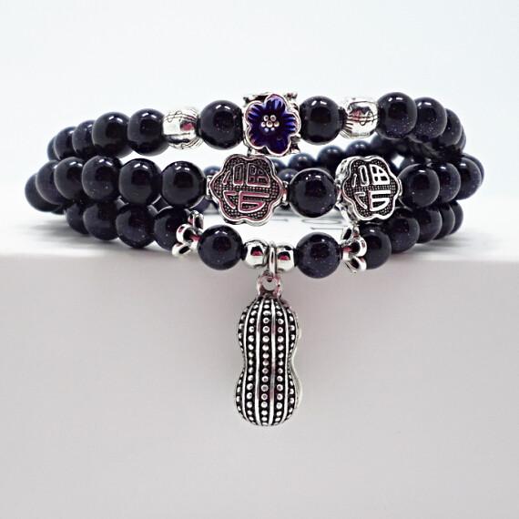 Wholesale Blue gold sand natural stone stretch peanut bracelet elastic pulserase retro beads charms expandable women fashion jewelry VGB038