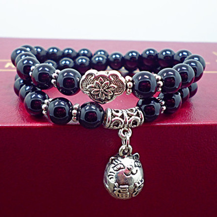 Wholesale Obsidian Bracelet Square crystal Beaded for men and women Yoga Hand Jewelry Accessories Wristband VGB042 0