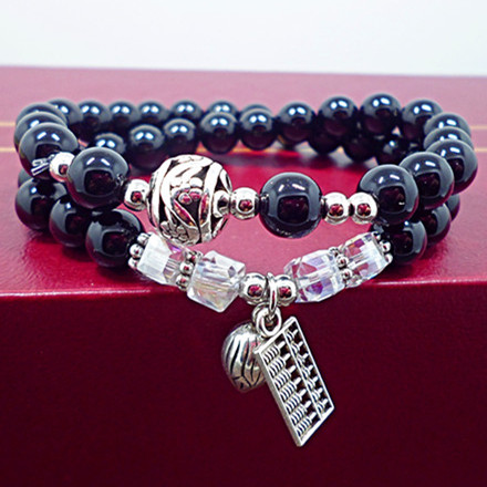 Wholesale Obsidian Bracelet Square crystal Beaded for men and women Yoga Hand Jewelry Accessories Wristband VGB042