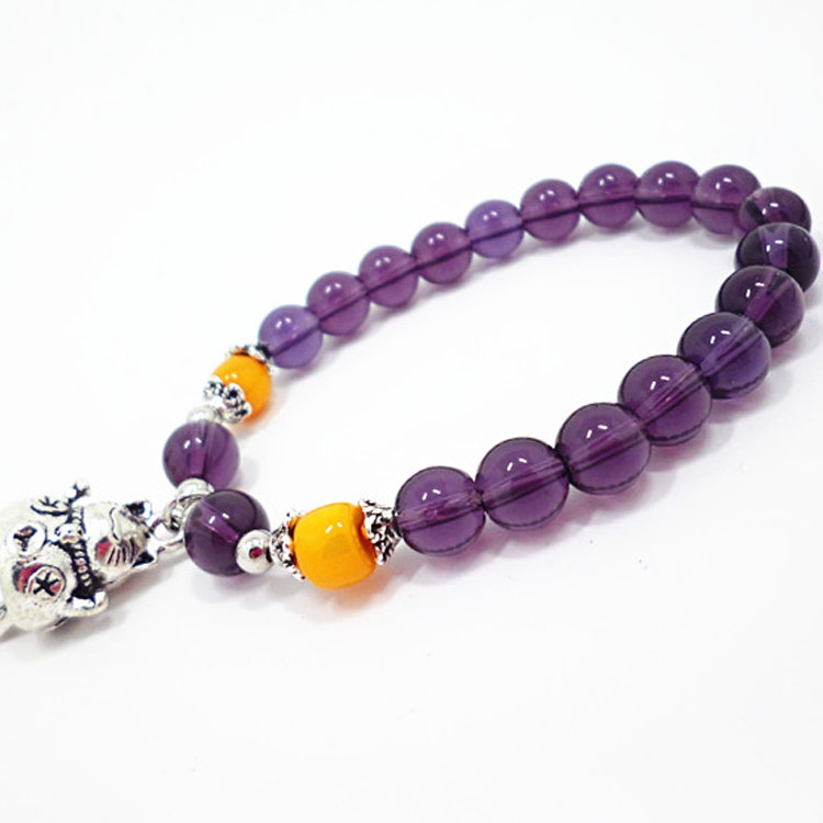Wholesale 2020 Lucky Cat Stone Beads Bracelet Bangles Simple Sweet Amethyst Bracelets for Women Girls Birthday Gift Charm Jewelry VGB043
