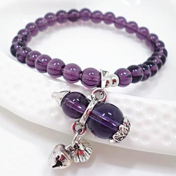 Wholesale Natural Amethysts and brown quartz Bracelet beads Necklace Yoga Mala Stone Bracelet for Women gourd Energy Jewelry VGB045