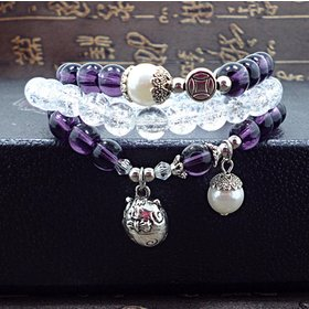 Wholesale Trendy Lucky Cats Natural Amethyst Crystal Ball Beads Elastic Bracelets For Women Fashion Hands Jewelry Lovely Bracelet VGB057