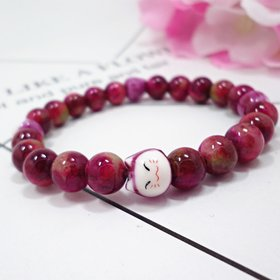Wholesale Multicolor choice Trendy Lucky Cats Natural Crystal Beads Elastic Bracelets  For Women Fashion Hands Jewelry Lovely Bracelet VGB091