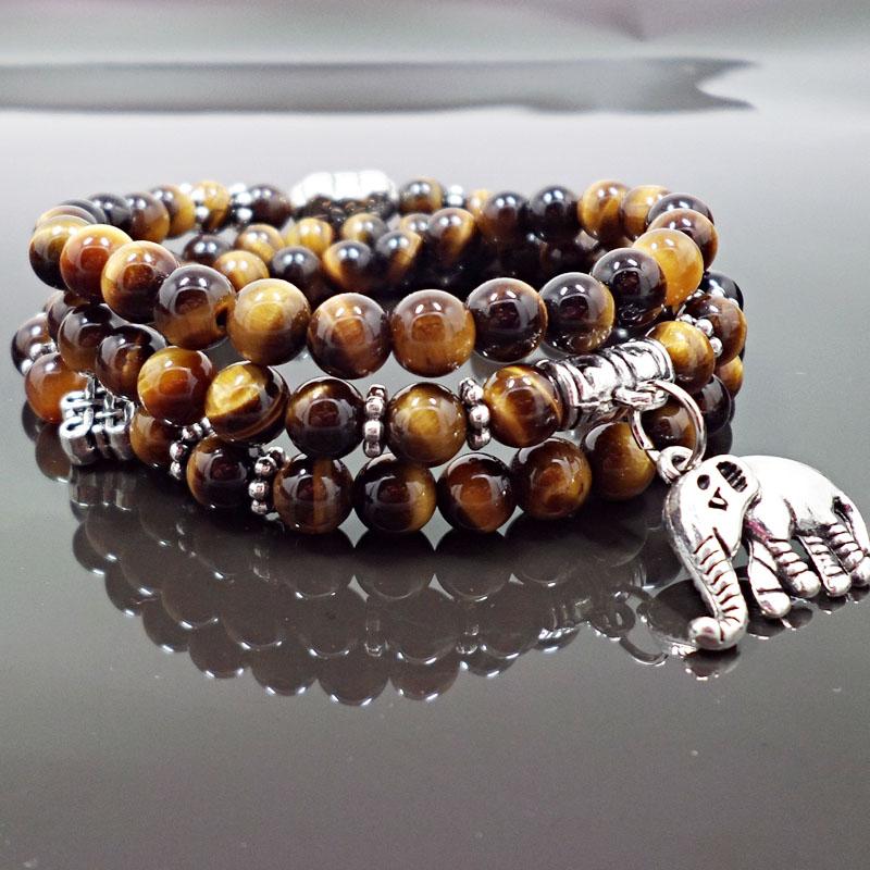 Wholesale Natural Stone Beads Buddha  elephant Bracelet Brown Tiger Eyes Yoga Meditation Braclet For Men Women Hand Jewelry Homme Unisex VGB095