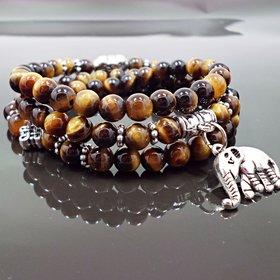 Natural Stone Beads Buddha  elephant Bracelet Brown Tiger Eyes Yoga Meditation Braclet For Men Women Hand Jewelry Homme Unisex