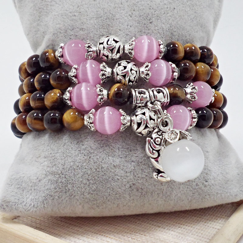 Wholesale Natural Stone Beads Buddha opal Bracelet Brown Tiger Eyes Yoga Meditation Braclet For Men Women Hand Jewelry Homme Unisex VGB096