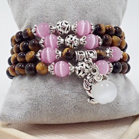 Natural Stone Beads Buddha opal Bracelet Brown Tiger Eyes Yoga Meditation Braclet For Men Women Hand Jewelry Homme Unisex