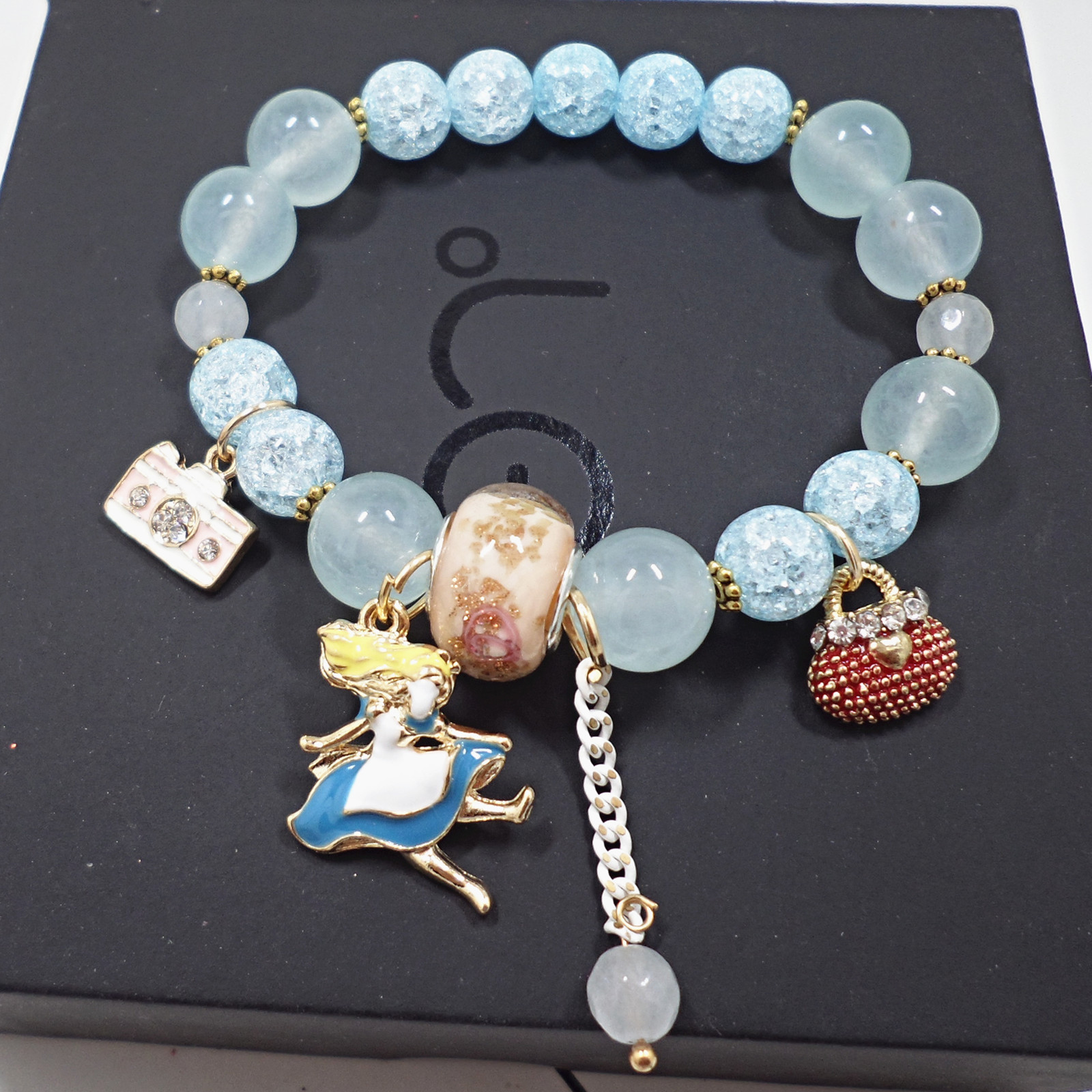 Wholesale Bohemia Girl camera crystal Bead Bracelets for Women creative jewelry wholesale Natural Stone Charms Wristband Gift  VGB097 2