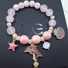 Korean Sweet Marine Dolphin Shell Flower Charm Bracelet Crystal Beads Bracelets for Women Beach Holiday Fashion Jewelry
