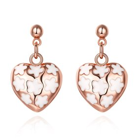 Wholesale Classic Hollow out Love Heart Dangle Earring Rose Gold Dangle Earrings For Women Delicate Fine Jewelry TGGPDE002