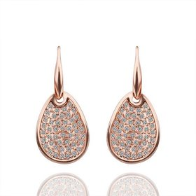 Wholesale Trendy Rose Gold Plated Rhinestone zircon water drop Dangle Earring delicate high quality earring for women wedding jewelry   TGGPDE009