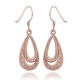 Wholesale Elegant rose gold Color AAA Cubic Zirconia dangle Earring For Women Classic water drop Crystal Earrings Female Wedding Jewelry TGGPDE013